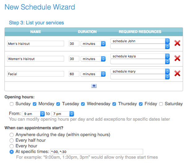 Manage your services on your online appointment calendar