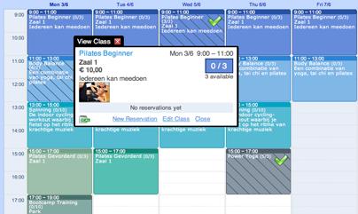 Screenshot van het reserveringssysteem