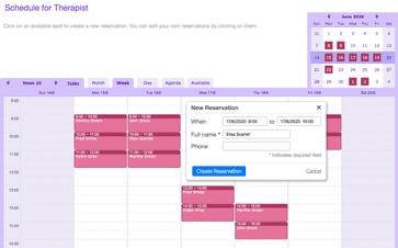 Appointment scheduling on a desktop