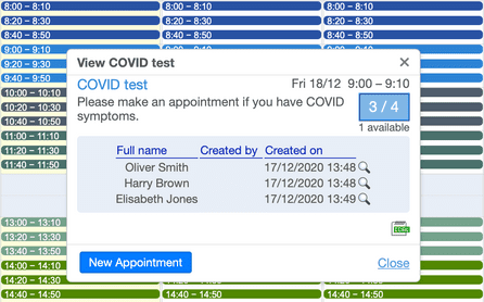 COVID test appointment software