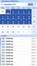 COVID test appointment app