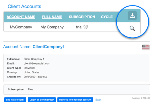 Download or remove client accounts
