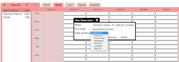 Create a reservation on your online appointment schedule